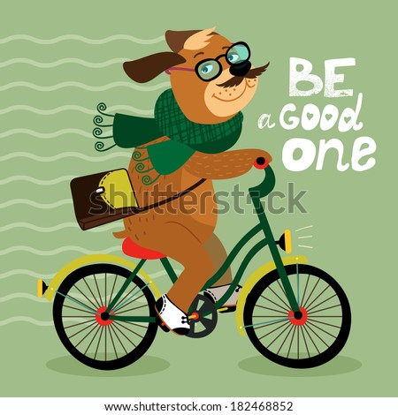 Hipster poster with nerd dog riding bike  illustration