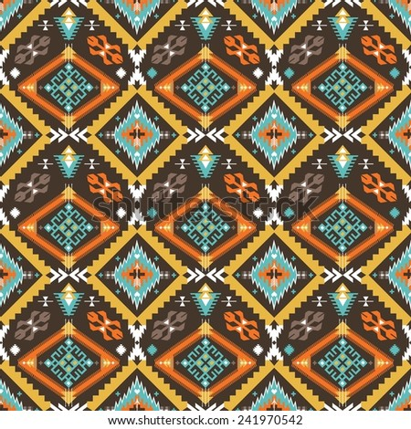 Hipster seamless colorful  tribal pattern with geometric elements  - stock photo