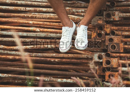 hipster sneakers - stock photo