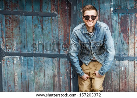 Hipster style guy - stock photo