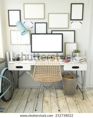 Hipster Workplace MockUp - stock photo