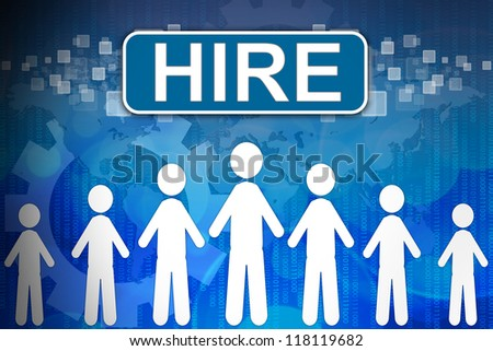 Hire ,Business concept in word Human resources - stock photo