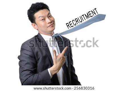 hired businessman isolated on white  ,we want you ,recruitment concept - stock photo