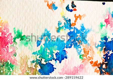 hires close up water color painting on watercolor paper texture using for background - stock photo