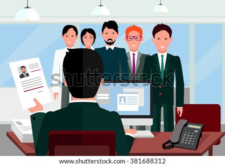 Hiring recruiting interview. Look resume applicant employer. Hands Hold CV profile choose from group of business people. HR, recruiting, we are hiring. Candidate job position. Hire and interviewer - stock photo