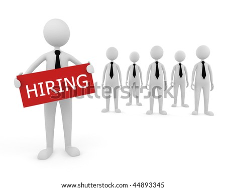 Hiring Team. 3D concept depicting businessman looking for new team to hire with the candidates behind him - stock photo