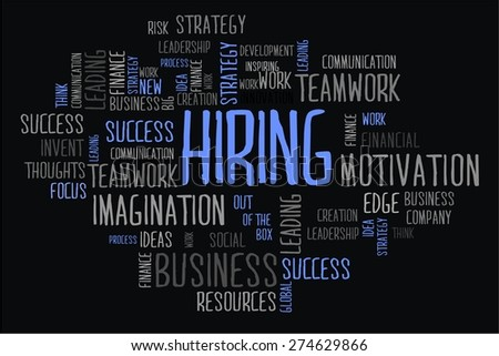 hiring word cloud business concept in black background - stock photo