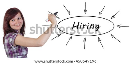 Hiring - young businesswoman drawing information concept on whiteboard.  - stock photo
