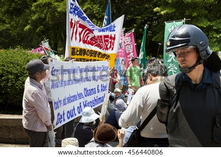 HIROSHIMA,JAPAN-MAY 27, 2016: peaceful protest against nuclear weapon during barak Obama, USA president visit in Hiroshima on May 27,2016.. - stock photo