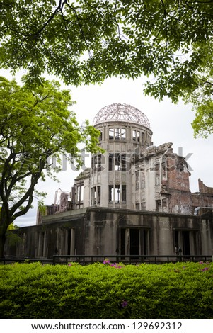 HIROSHIMA, JAPAN - MAY 2: The A-Bomb Dome in Hiroshima, Japan on 2nd May 2012. The Dome is one of the only buildings left standing at the epicentre of the atomic bomb attack of 6th Aug 1945.