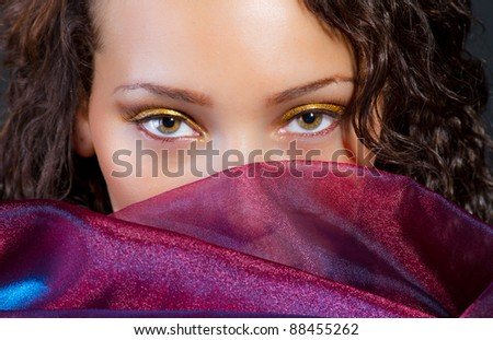 hispanic attractive model with a silk scarf - stock photo