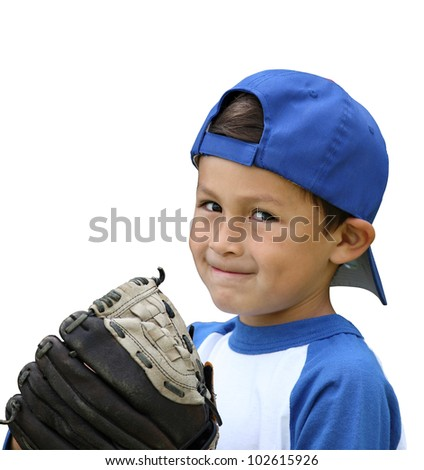 Hispanic baseball boy with blue and white clothes and glove on isolated white background - stock photo