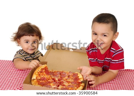 Hispanic boy and girl ready to eat a pizza