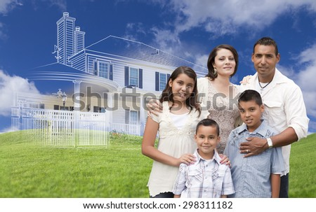 Hispanic Family with Ghosted House Drawing, Partial Photo and Rolling Green Hills Behind.