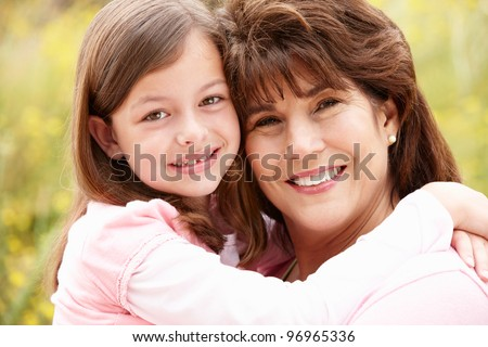 Hispanic grandmother and granddaughter