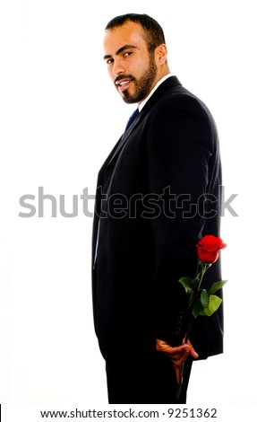 Hispanic Man with Single Red Rose - stock photo