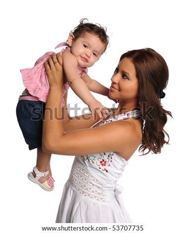 Hispanic mother and child isolated over white background