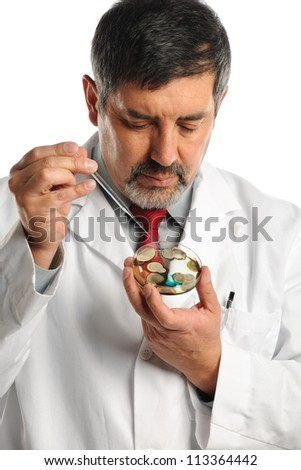 Hispanic scientist working with bacteria on petri dish isolated over white background