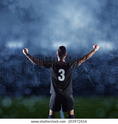 Hispanic Soccer Player celebrating a victory - stock photo