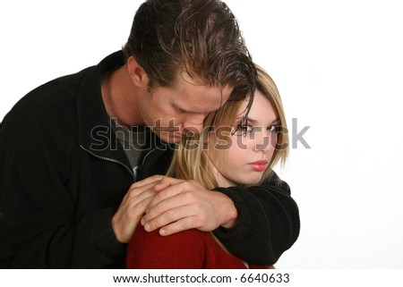 Hispanic woman and caucasian man.  Couple portrait.