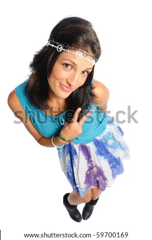 hispanic woman dressed as a hippie on a white background