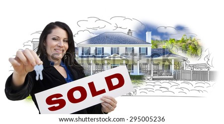 Hispanic Woman Holding Keys and Sold Sign Over House Drawing and Photo Combination on White. - stock photo