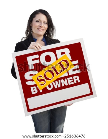 Hispanic Woman Holding Sold For Sale By Owner Real Estate Sign Isolated On White. - stock photo