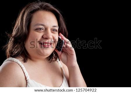 hispanic woman using a cell phone - stock photo