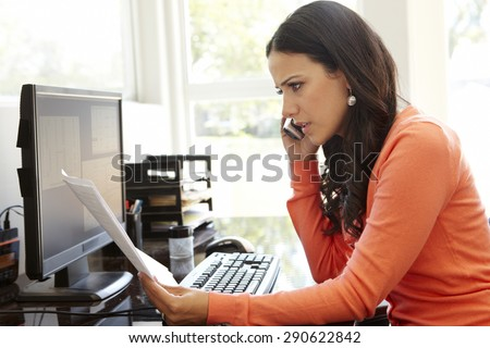 Superb Hispanic Woman Working Home Office Stock Photo 280357553 Largest Home Design Picture Inspirations Pitcheantrous