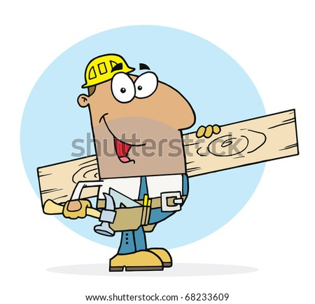 Hispanic Worker Man A Wood Plank - stock photo