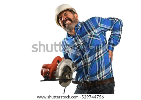 Hispanic worker suffering  back injury isolated over white background
