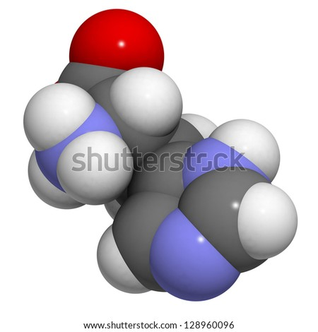 Histidine (His, H) amino acid, molecular model. Amino acids are the building blocks of all proteins. Atoms are represented as spheres with conventional color coding: hydrogen (white), etc - stock photo