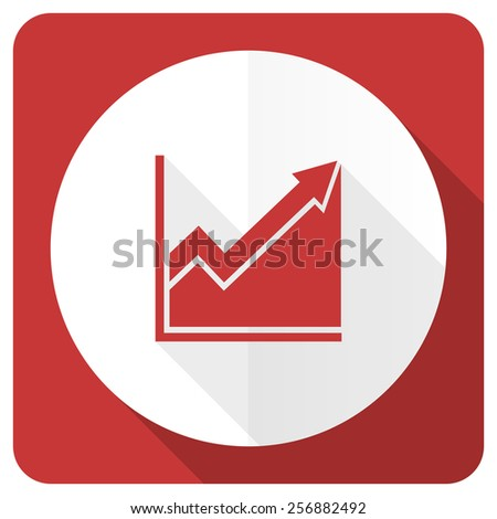 histogram red flat icon stock sign  - stock photo