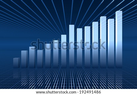 histograms abstract on blue  background - stock photo
