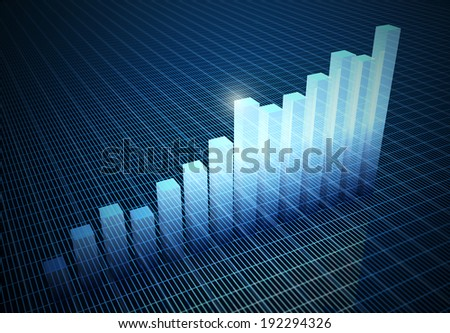 histograms rising on blue abstract background - stock photo
