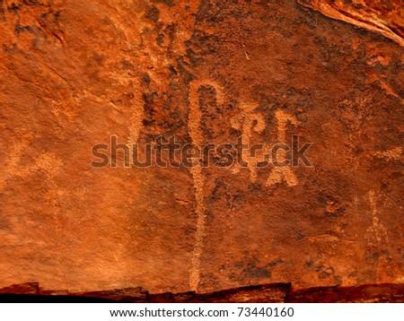 Historic Anasazi petroglyphs in Step Canyon, Utah, USA. - stock photo