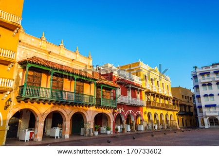 Historic and colorful colonial buildings in the center of Cartagena, Colombia - stock photo