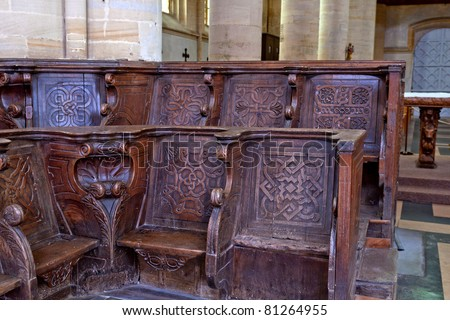 Historic and monumental church bench of the cathedral of coutances in france