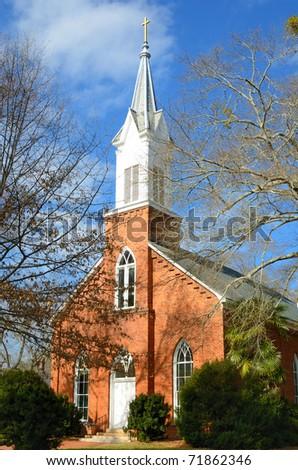 Historic Antebellum church in Madison, Georgia. - stock photo