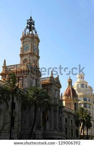 Historic Architecture in the center of Valencia, Spain. - stock photo