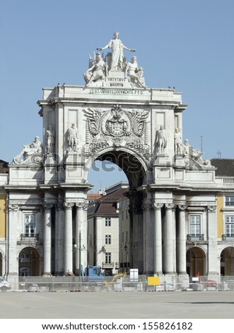 historic archway in Lisbon, the capital city of Portugal