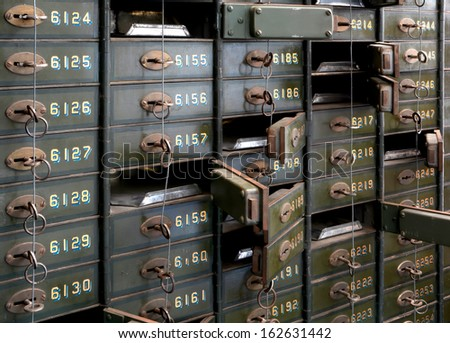 historic bank lockers in the Technik Museum in Magdeburg - stock photo