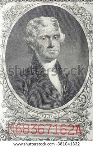 Historic banknote, Portrait of the U.S. President of Jefferson in two dollars USA - 1917