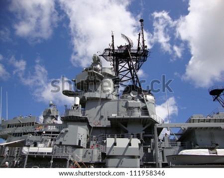 Historic Battleship USS Missouri radar and satellite towers at midship on Oahu, Hawaii - stock photo