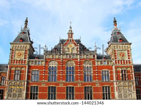 Historic building of Amsterdam central railway station, Netherlands - stock photo