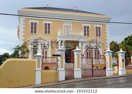 Historic Building, Willemstad, Curacao, ABC Islands - stock photo