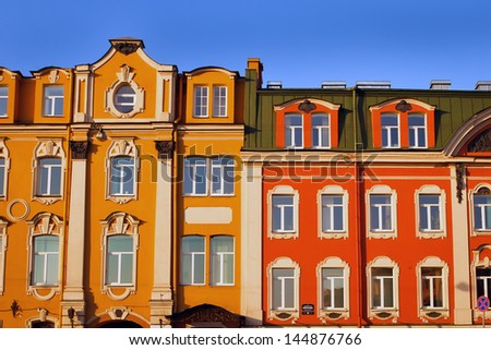 Historic buildings abainst a blue sky. Saint Petersburg, Russia - stock photo