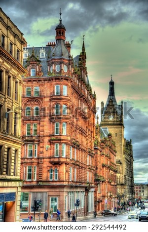 Historic buildings in the centre of Glasgow - Scotland - stock photo
