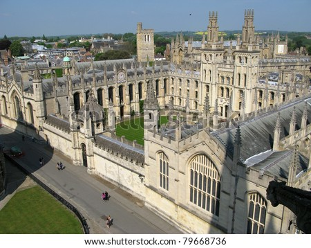 Historic buildings in the Oxford University - stock photo