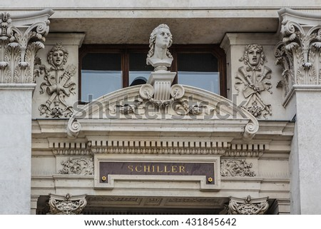 Historic Burgtheater (Imperial Court Theatre) - Austrian National Theatre in Vienna. Design by Gottfried Semper and Karl Hasenauer, 1888. Architectural details. Vienna, Austria. - stock photo